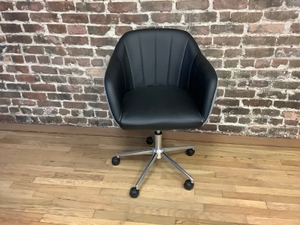 Chair, Conference, faux leather with grey fabric back