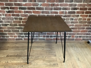 Table, Cafe with Wood Top and Metal Legs